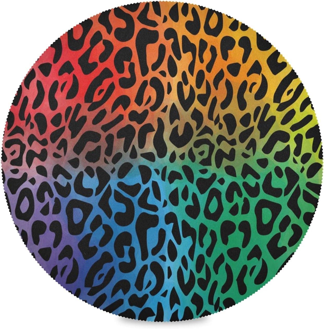 Arte Lunares Leopardo Piel Animal Juego de 1/4/6 Manteles Individuales Redondos Lavables, 39cm Antideslizante Resistente al Calor para Mesa de Comedor Cocina