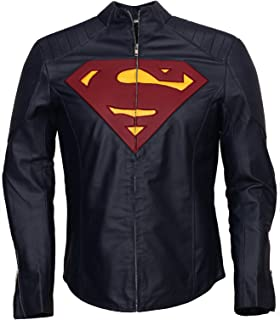 Leatherobe Super The Man of Steel Smallville Costume Cosplay Superhero Faux Leather Jacket