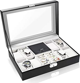 Watch Cases for Men 8 Slot, Watch Jewelry Box Organizer for Men, PU Leather Lockable Watch Holder with Ring Storage GK009 (Black)