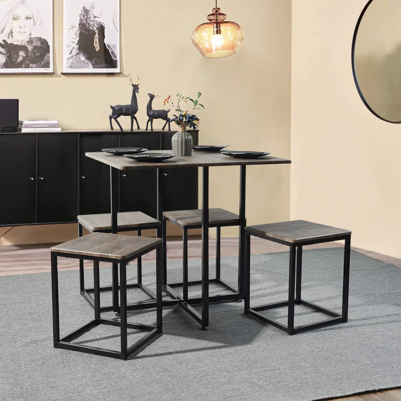 FURNISH 1 Juego de Comedor de 5 Piezas Mesa y taburetes Cuadrados, Juego de Mesa y sillas para Desayuno, Mesa de Oficina marrón Oficina en casa: Amazon.es: Hogar