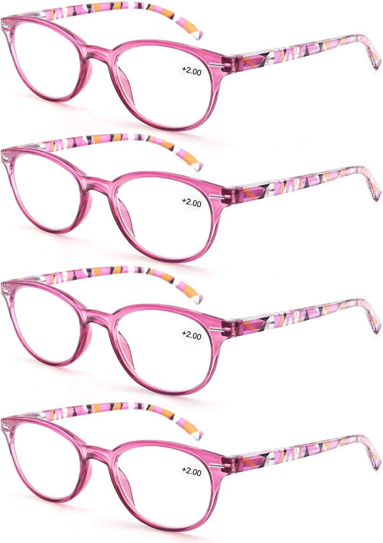 Un Pack de 4 Gafas de Lectura 2.75/Gafas para Presbicia Mujeres,Buena Vision Ligeras Comodas,Vista de Cerca/Vista Cansada