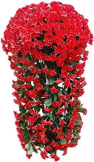 Wcysin 2PCS Artificial Vine Silk Flower Garland Hanging Baskets Plants Home Outdoor Wedding Arch Garden Wall Decor (Red)