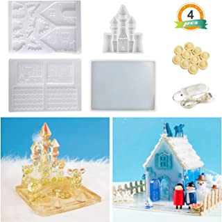 LET'S RESIN Resin Molds with Gingerbread House Silicone Molds, Castle Epoxy Molds, Large Coaster Molds, 1PCS Copper Wire Light for Making Home Decoration