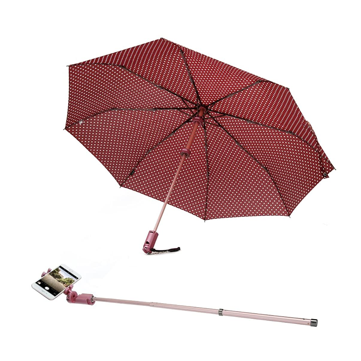 Umbrella with Selfie Stick, Moreslan Compact Folding Windproof Umbrella for Sun&Rain, Detachable Selfie Stick Tripod Monopod with Bluetooth Remote for Men and Women, Dupont Canopy 8 Ribs