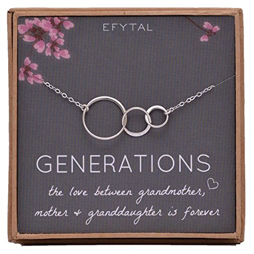EFYTAL Generations Necklace For Grandma Gifts
