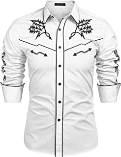 Mens Western Cowboy Shirt Embroidered Denim Long Sleeve Casual Button Down Shirt
