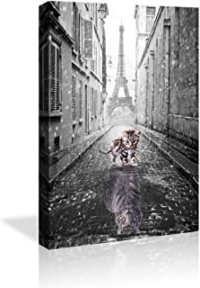 Wall Art Posters Small Cat Pictures Big Tiger Eiffel Tower Canvas Painting Mindset is Everything Print Poster Artwork Wooden Home Decor for Living Room Bedroom Office Framed
