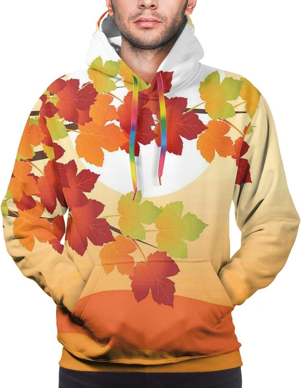 Men's Hoodies Sweatshirts,Fall Season Landscape in Warm Tones Maple Tree Branches Sundown On Abstract Backdrop