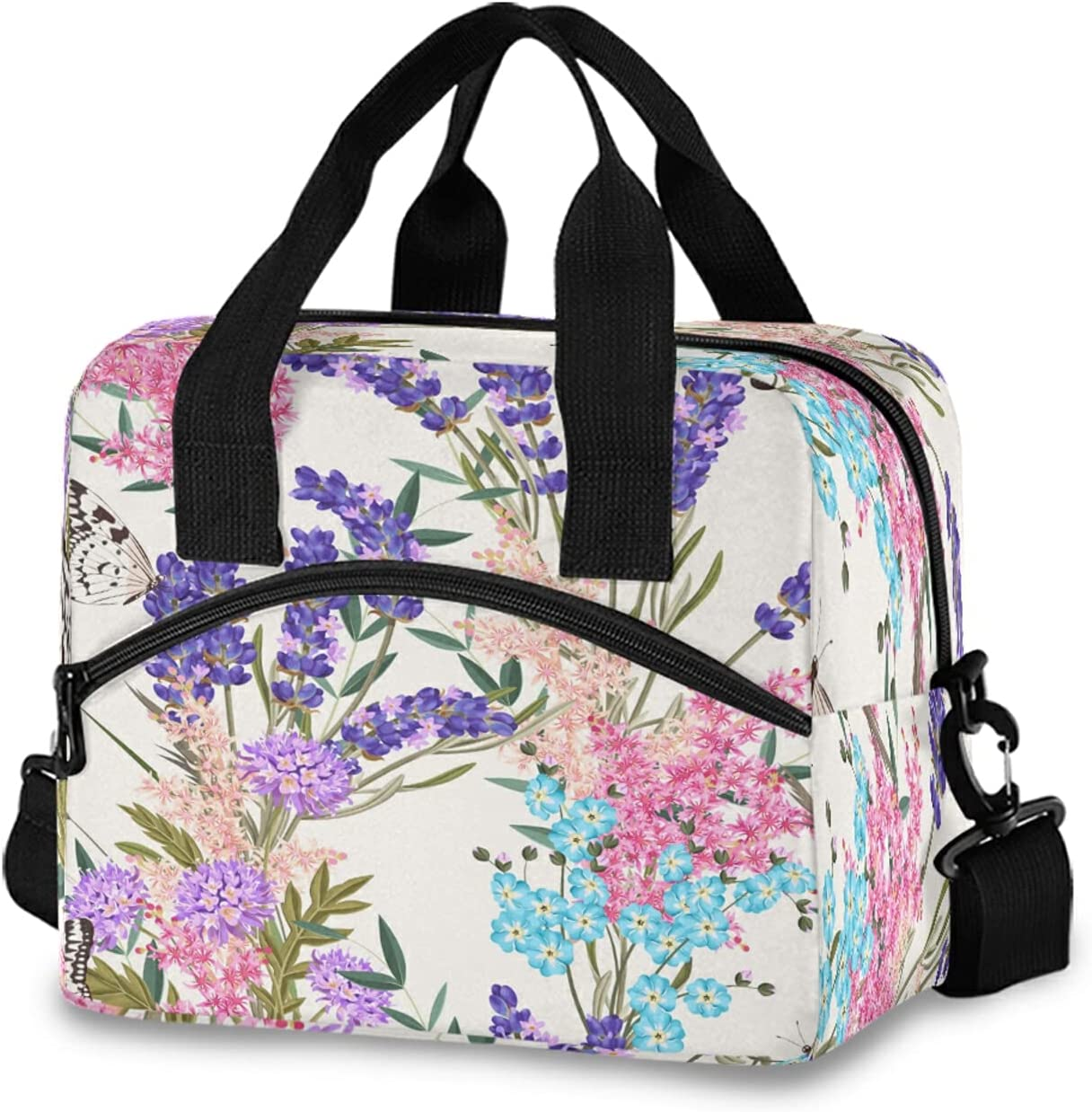 KEEPREAL Butterfly Lavender Print Max 43% OFF Insulated with NEW Bag Shoul Lunch