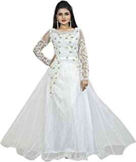 f793df7e38 Divine International Trading Co Women's Net Semi-Stitched Gown with  Embroidery Work (White,