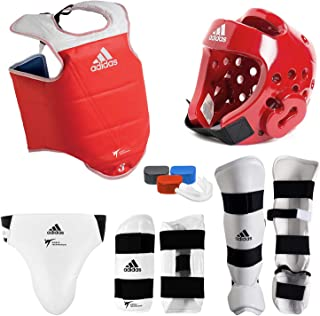 adidas Complete Taekwondo Sparring Gear Set with SHIN Instep - RED - Adult-XLarge