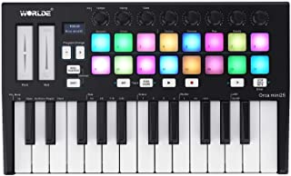 WORLDE Orca mini25 Portable 25-Key USB MIDI Keyboard Controller with 16 RGB Backlit Trigger Pads 8 Assignable Control Knobs