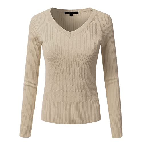 JJ Perfection Women s Classic Long Sleeve V-Neck Cable Knit Sweater Black e29d89a9e