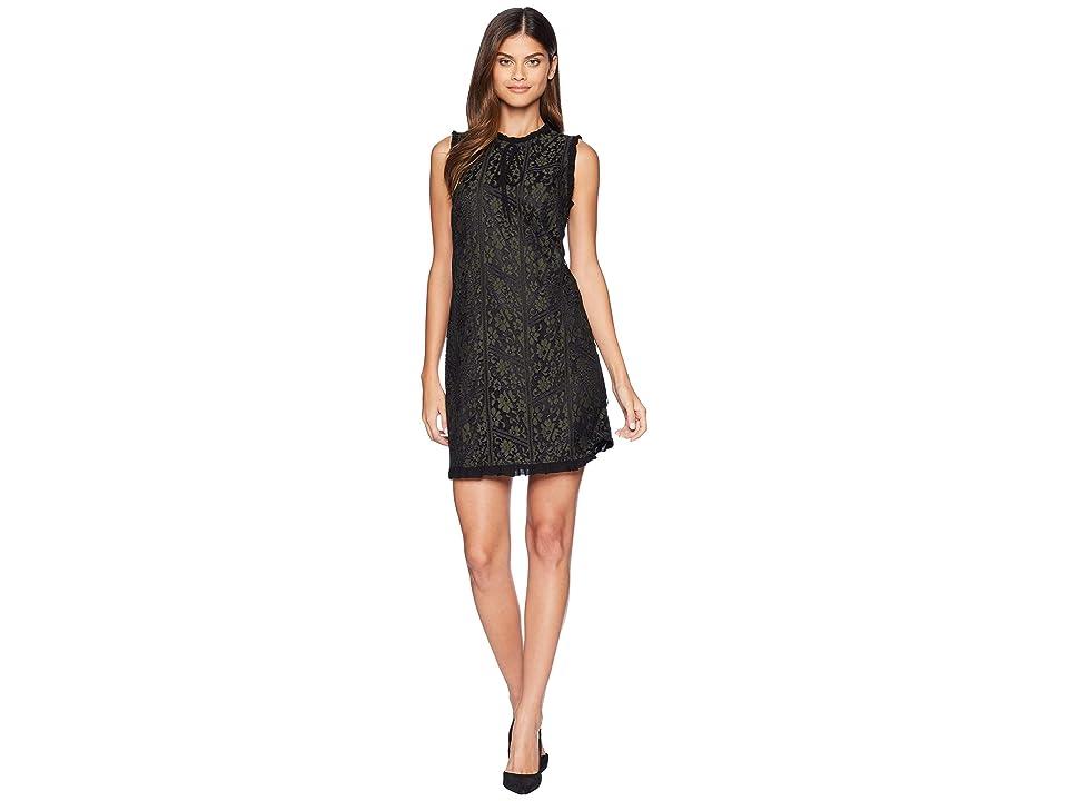 kensie Lace Lines Dress KS9K8291 (Dark Moss Combo) Women