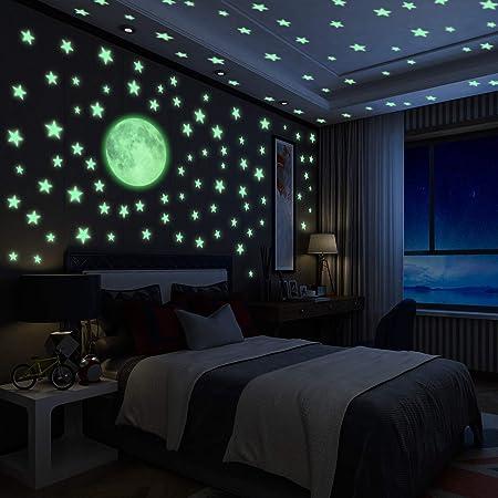 Yosemy 222Pcs Autocollants Lumineux, Lumineuses Stickers Étoiles en 3 Tailles + 1 Gros Lune, Décor de Plafond Fluorescent pour Chambres d'enfants, Chambres de Bébés ou des Fêtes