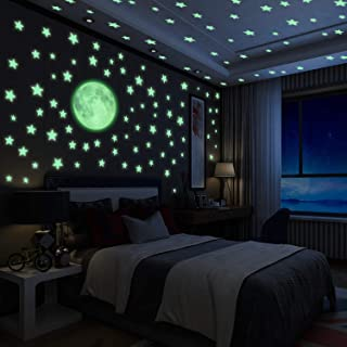 Luminoso Pegatinas de Pared Yosemy Luna y Estrellas,