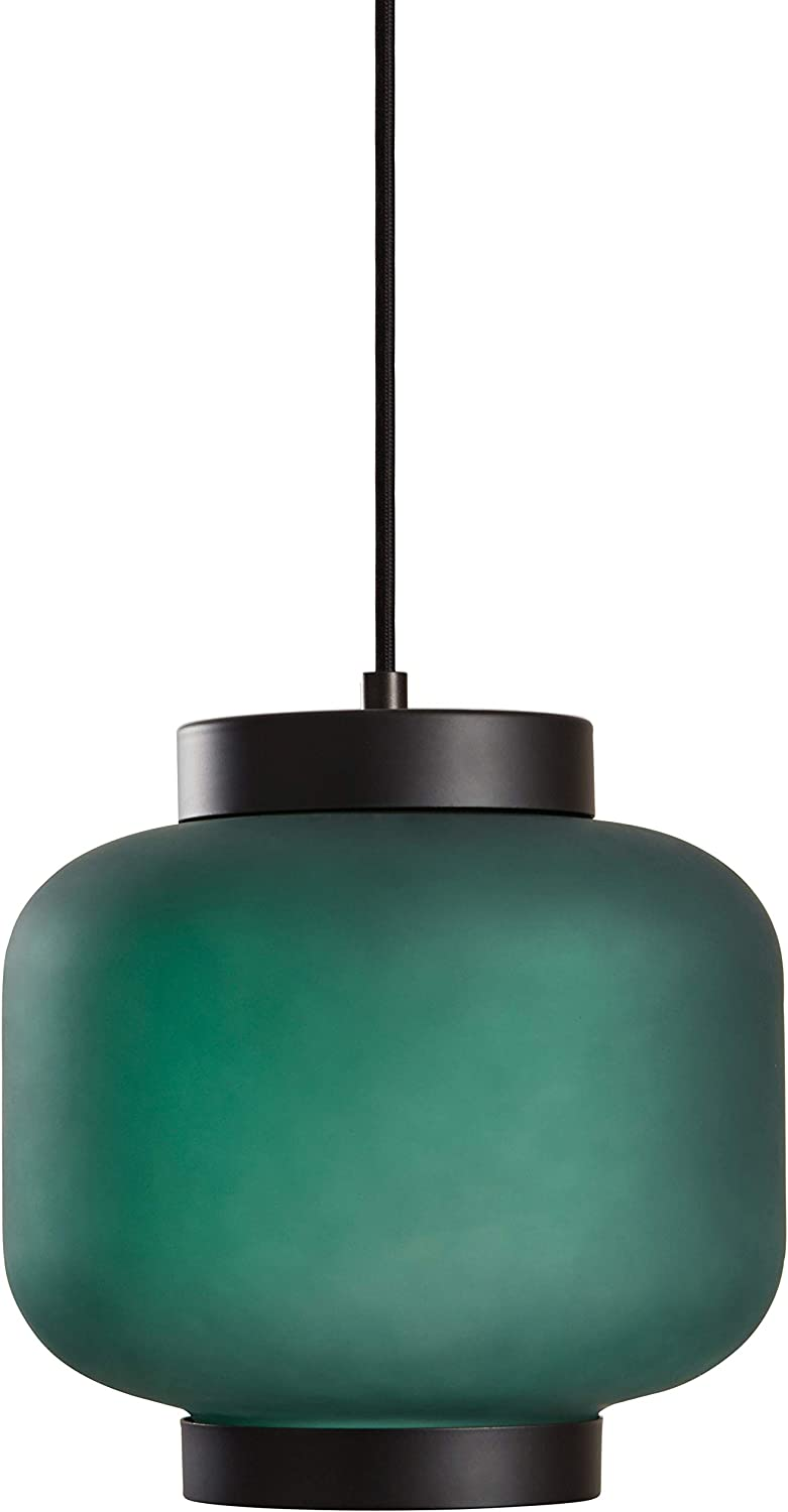 Rivet Mid-Century Outer Frosted Glass Finish Pendant Light with Bulb, 60 H, Green