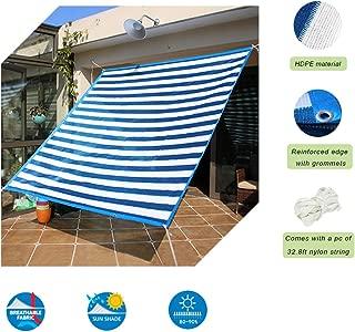 Insun Toldo contra el Sol y Rayos UV Vela de Sombra para Exterior Parasol Rectangula protección UV Azul y Blanco a Rayas 200 x 400 cm
