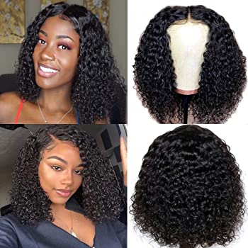 Ainmeys short bob wigs 4x4 lace closure wigs brazilian curly wave Lace Front wigs human hair curly bob wigs for black women 150% Density Pre Plucked with bady hair (14inch, 4x4 lace closure)