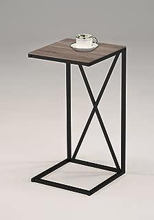 Reclaimed Wood Look Finish Black Frame Snack Side End Table X-Design