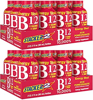 Stacker 2 Vitamin B Complex B12 B6 B3 Liquid Energy Shots - Vegansafe & Vegan Cyanocobalamin, 10,000% DRV - B-6 Pyridoxine...