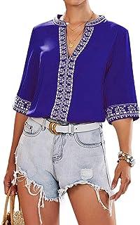 Cotrio Blusas femininas com decote em V Camiseta feminina casual estampa floral boho manga curta tops