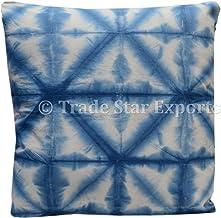 Trade Star 24 x 24 Indigo Tie Dye Pillow Covers Shibori Euro Shams Cushion Cover Square Pillow Case for Home Decor Indian ...