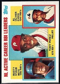 1984 Topps Baseball #704 Tony Perez/Rusty Staub/Al Oliver New York Mets/Philadelphia Phillies/Montreal Expos NL Active Career RBI Leaders Official MLB Trading Card Sharp Corners Guaranteed