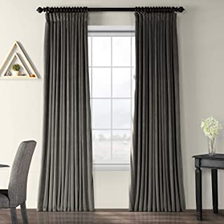 HPD Half Price Drapes VPCH-VET1220-84 Signature Extra Wide Blackout Velvet Curtain (1 Panel), 100 X 84, Gunmetal Grey