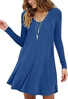 MOLERANI Women's Long Sleeve Casual Swing Simple T-Shirt Loose Dress