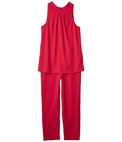 Adrianna Papell Knit Crepe Popover Halter Jumpsuit (Fiesta Pink) Women
