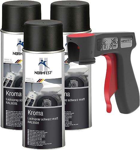Peinture aérosol Kroma noir mat spray vernis résistante à l'essence pulvérisateur 3x 400 ml + 1x poignée originale po...