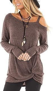 TEMOFON Women's Shirts Cold Shoulder Tops Long Sleeve/Short Sleeve Casual Fashion Knot Twist Front Blouse T-Shirt S-2XL