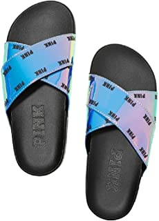 Pink Slides Slip On Metallic Sandals