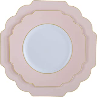 """Laura Ashley Dinner 10.5"""" Flower Shape Plastic Dinnerware Disposable Plates, Perfect for Special Occassions, Weddings & Pa..."""
