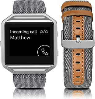 Jobese Compatible with Fitbit Blaze Bands, Soft Classic Canvas Fabric Straps with Genuine Leather Bands with Silver Metal Frame Compatible with Fitbit Blaze Accessories Wristbands