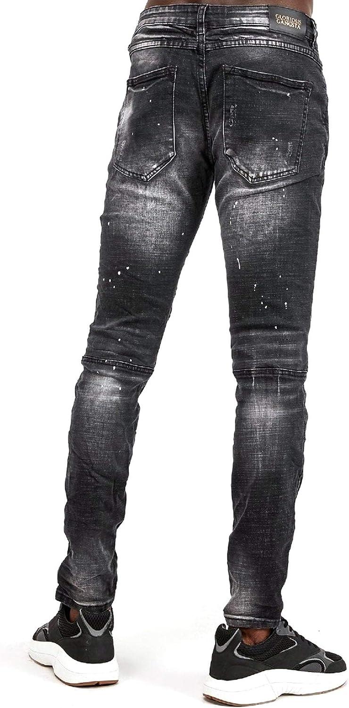 Glorious Gangsta Atreo Superslim Black Wash Ripped & Repair Biker Jeans en jean Noir