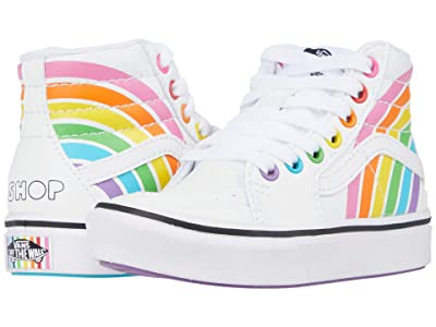 Vans Kids ComfyCush SK8-Hi (Little Kid) ((Flour Shop) Rainbow/True White) Kid