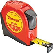 Starrett Exact KTX34-16ME-N ABS Plastic Case Red Measuring Pocket Tape, English/Metric Graduation Style, 16' (5m) Length, 0.75