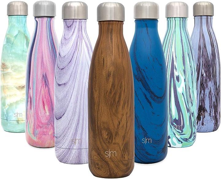 Simple modern 500 ml wave borraccia termica - alluminio bottiglia acciaio inox acqua termos da viaggio WVC-17-WD