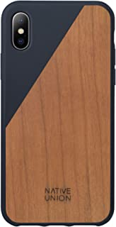 Native Union CLIC Wooden Case - Handcrafted Real Cherry Wood Drop-Proof Slim Cover with Screen Bumper Protection for iPhone X (Marine)
