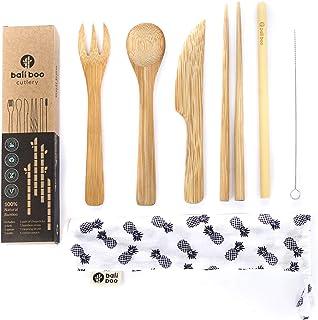 Bali Boo Cubiertos de Bambú Cubertería de Bambú   Cubiertos para Llevar-Camping Picnic   Cubiertos Reutilizables de Bambú   Tenedor, Cuchillo, Cuchara, Palillos, Pajita, Cepillo y Bolsa de Viaje