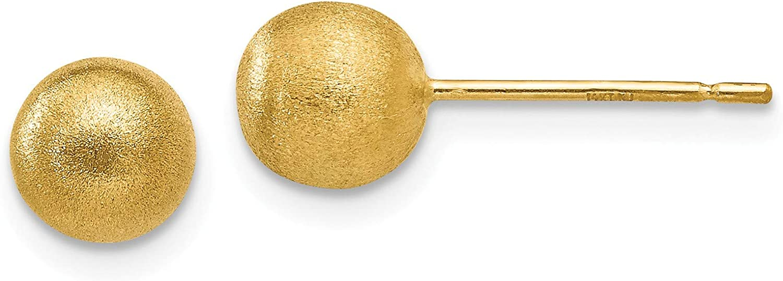 14K 6mm Satin Ball Post Earrings, 14k Yellow Gold