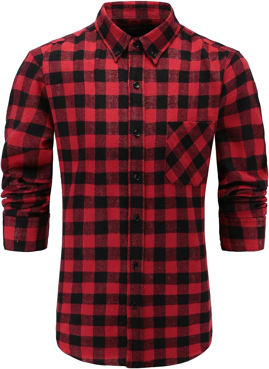 GoldCut Men's 100% Flannel Cotton Slim Fit Long Sleeve Button Down Plaid Dress Shirts