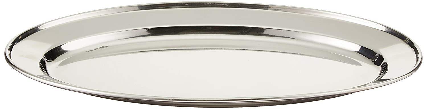 Winco OPL-14 Stainless Steel Oval Platter, 14-Inch by 8.75-Inch