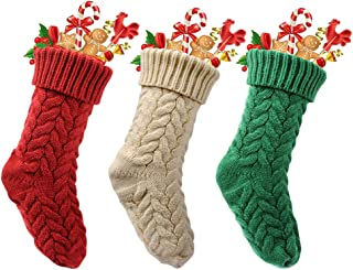 Lcymom 3pcs Knit Christmas Stockings,18 inch Large Knitted Xmas Rustic Personalized Stocking Decorations(Red/White/Green)