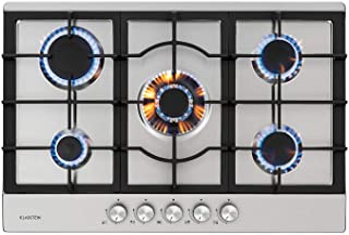 Klarstein Ignito 5 zones Plaque de cuisson à gaz - 5 feux, 75 cm, encastrée, brûleur Sabaf, gaz naturel/gaz propane, soupa...