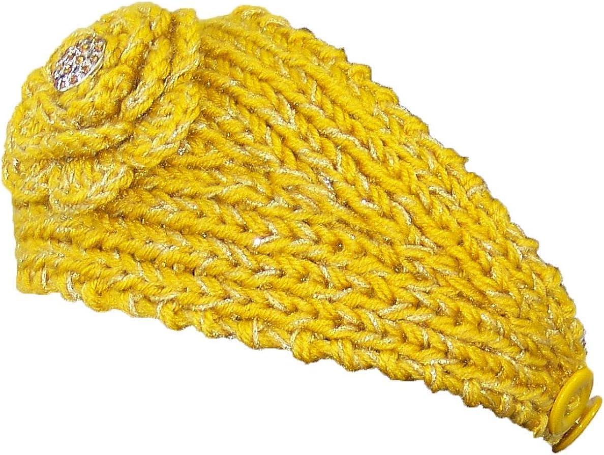 Sparkly Knit Winter Headband w/Jeweled Button (One Size)
