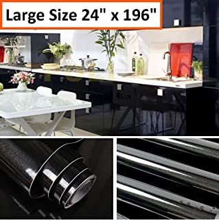 Oxdigi Black Contact Paper Decorative for Countertops Cabinets Shelves Glossy Self Adhesive Film Peel and Stick Waterproof Wallpaper 24 x 196 inches (Pearlescent Glitter)