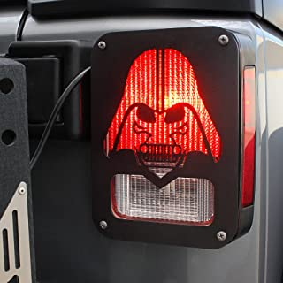 Xprite Black Tail Light Guard Star War Darth Vader for Rear Tail Light Cover for 2007-2018 Jeep Wrangler JK Unlimited - Pair